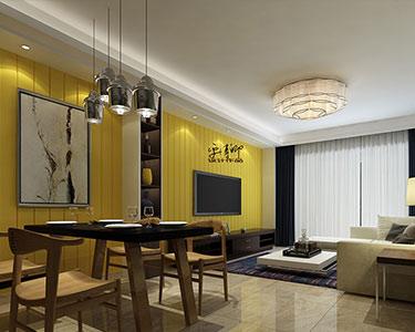 125㎡三室1厅极致简约风格装修效果图 -「滨水新村小区」