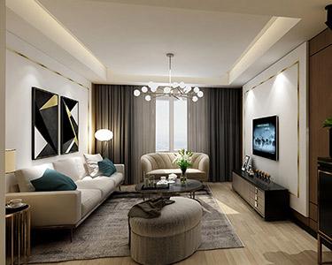 3室1廳現代輕奢風格裝修效果圖-「恒大翡翠華庭小區」