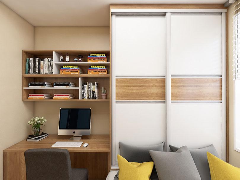 次卧定制电脑桌、书柜、衣柜效果图