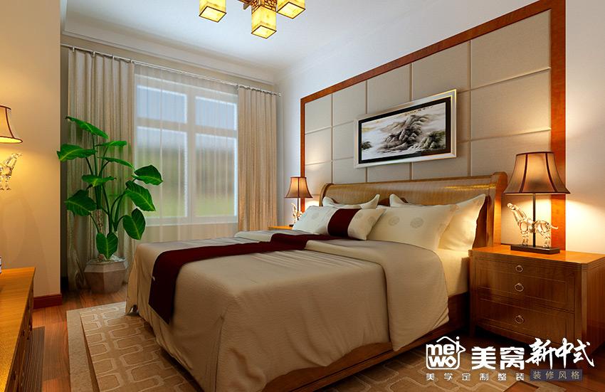 明华学府大户型新中式风格卧室装修设计-包头国美美窝装饰公司效果图