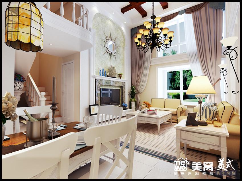 正翔国际loft简美风格客餐厅装修设计-包头国美美窝装修效果图