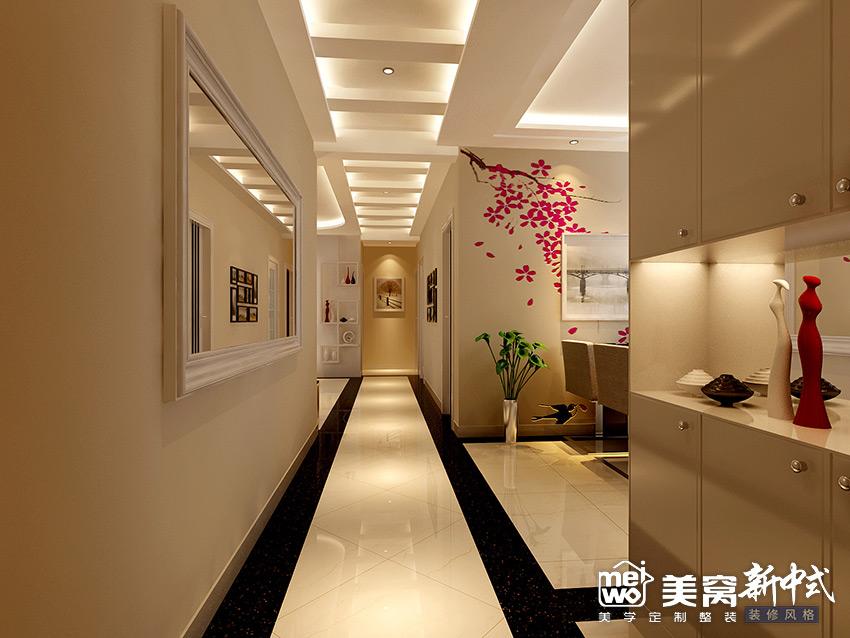 锦尚国际148㎡新中式玄关装修设计-国美美窝装饰