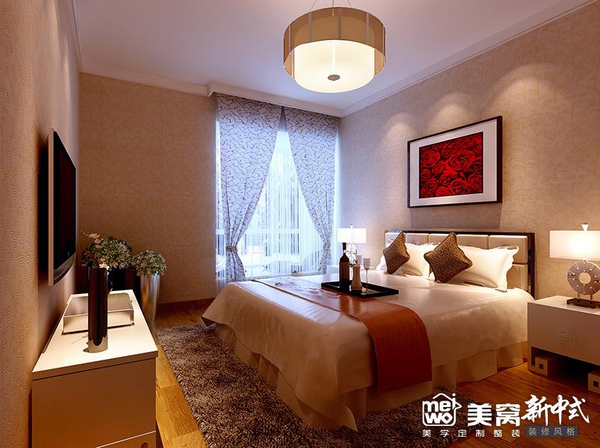 锦尚国际148㎡卧室新中式装修设计-国美美窝装饰