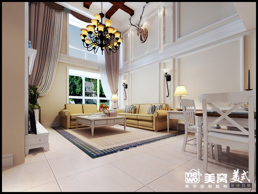 正翔国际loft简美风格客厅侧面装修设计-包头国美美窝装修效果图
