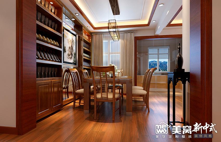 明华学府大户型新中式风格餐厅装修设计-包头国美美窝装饰公司效果图