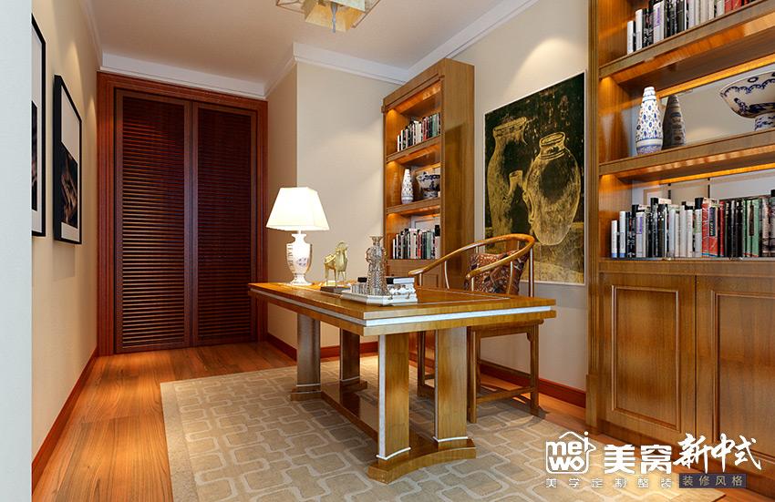 明华学府大户型新中式风格书房装修设计-包头国美美窝装饰公司效果图