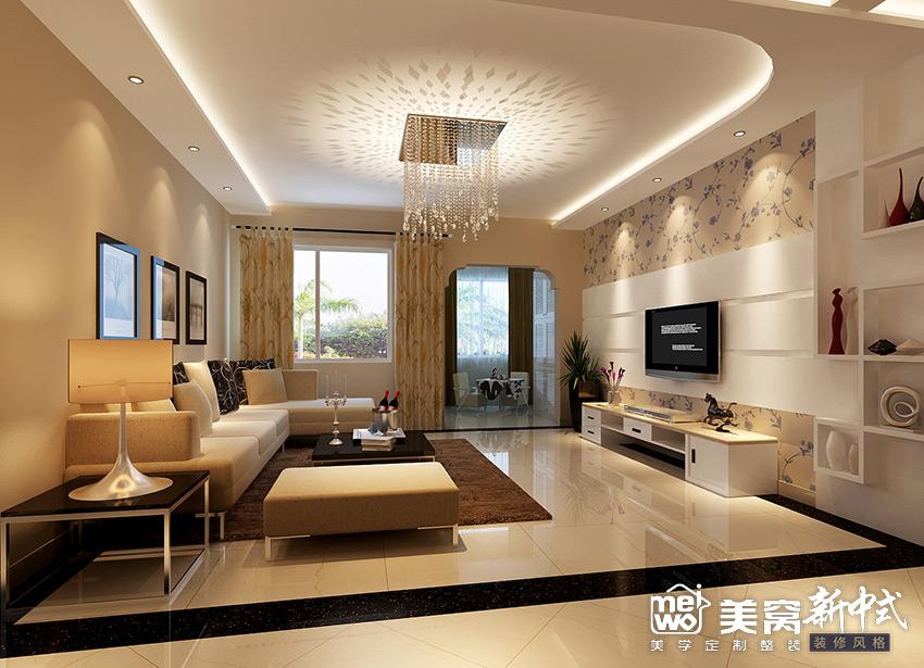 锦尚国际148㎡新中式客厅装修设计-国美美窝装饰