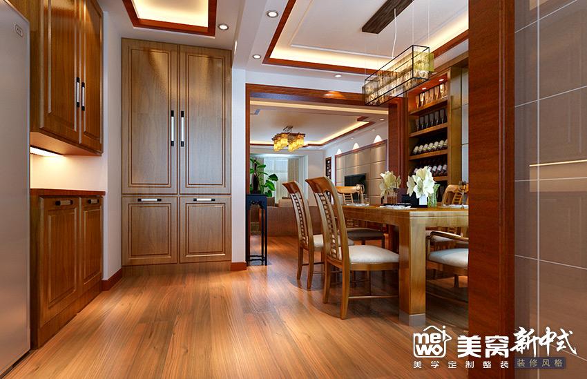 明华学府大户型新中式玄关风格装修设计-包头国美美窝装饰公司效果图