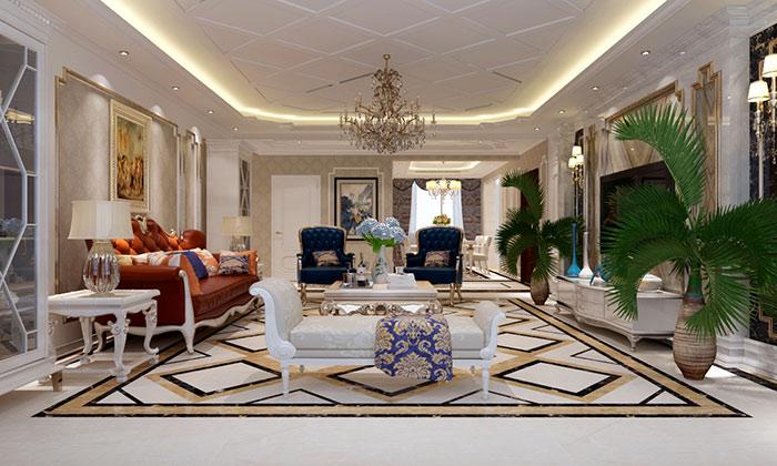 台式现代风格客厅装修设计-国美美窝装饰装修效果图