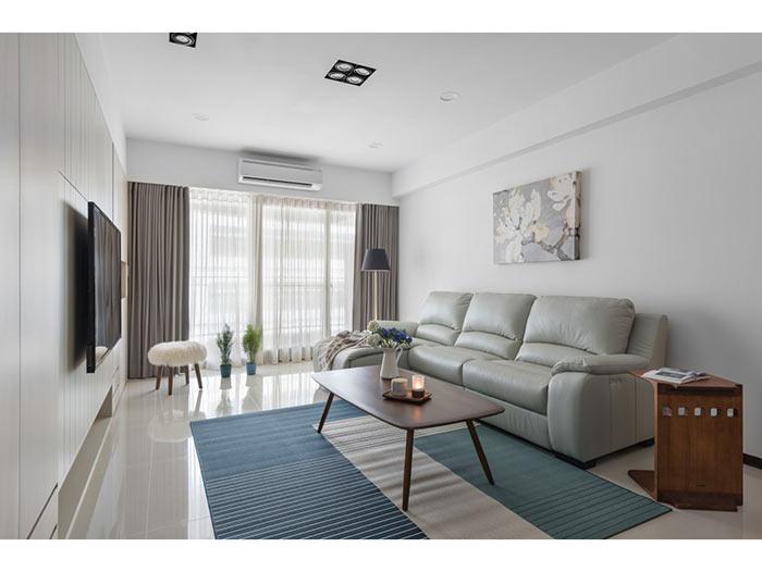 现代简约客厅-包头装修公司效果图_国美美窝装饰设计