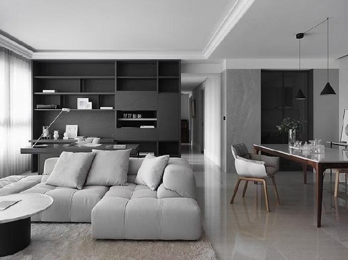 前口子小区-黑白灰现代风格-装修效果图_样板间-呼和浩特美窝装饰